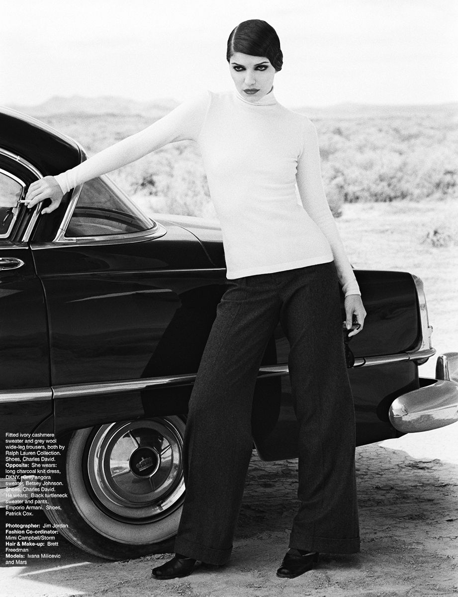 Ivana Milicevic Black and White Desert Car