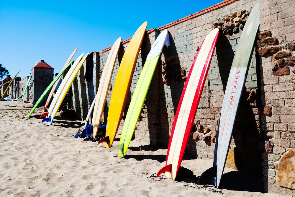 Surfboards Against Wall at Surfrider Beach Malibu