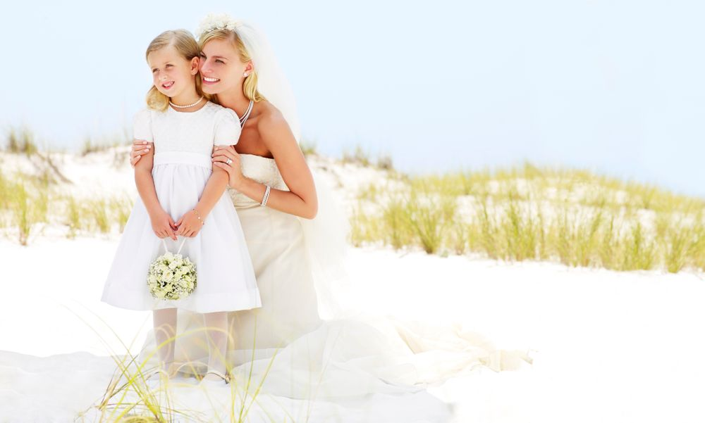 Florida Beach Bride and Flower Girl