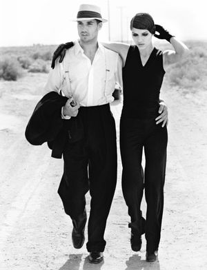 Black and White Ivana Milicevic and Model in Desert
