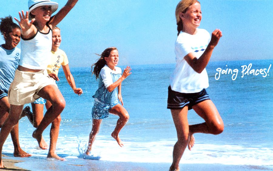 American Girl Girls Running on Beach