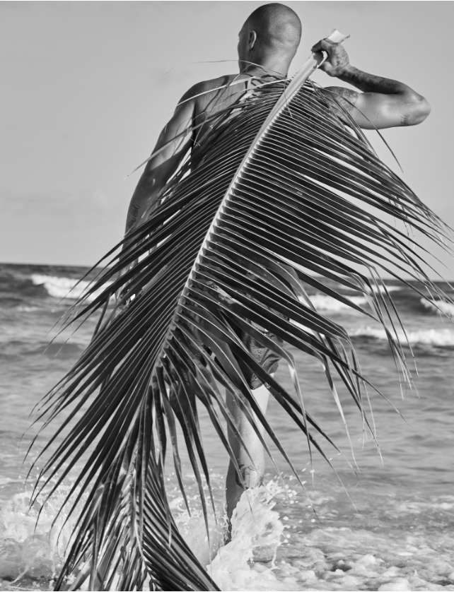 Jeremy Meeks with Palm Frond in Barbados