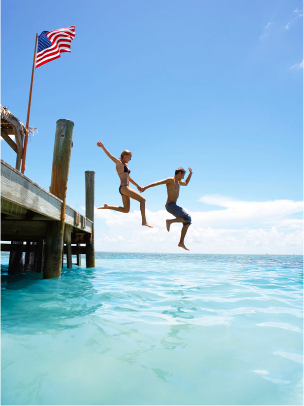 Couple Jumping off Pier Key West Florida