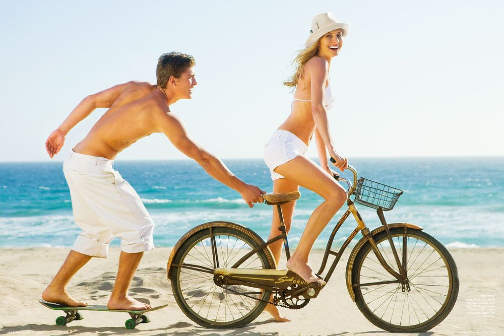Marie Claire Magazine Couple with Bike