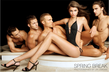 Taylor Hill on Pool Deck with Men at Night