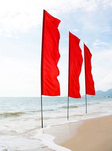 Red Flags on Beach - Travel Photographer New York