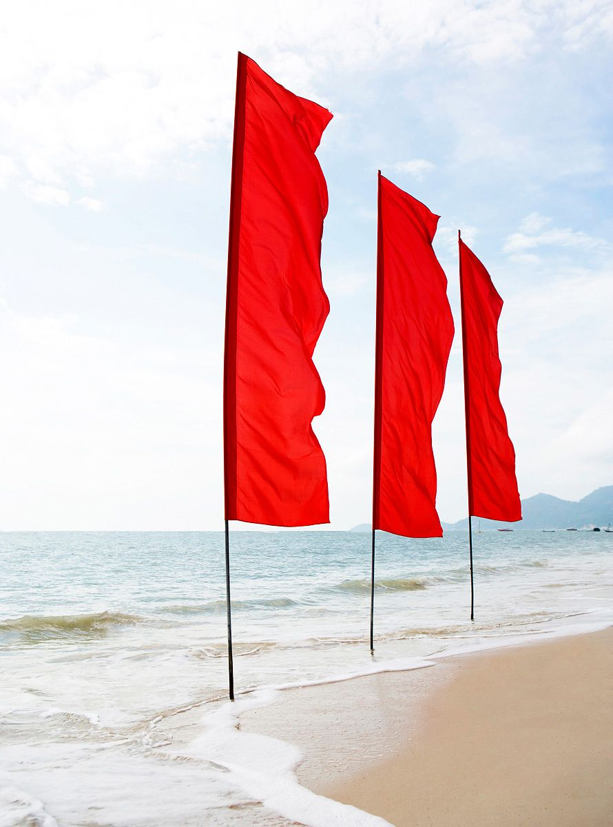 Red Flags on Beach in Thailand