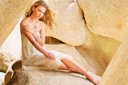 Girl on Rocks in Joshua Tree