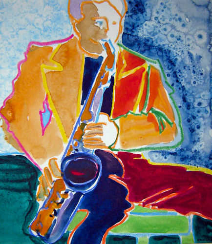 """#1428 """"Sax Player""""  SOLD"""