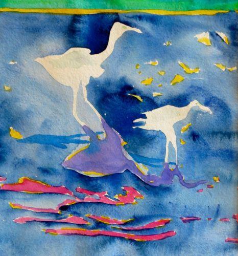 "#1883  ""Bodega Bay White Herons""  SOLD"