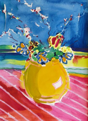 "#1882  ""Bouquet with Yellow Vase"""