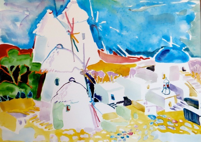 "#1846  ""Mykonos Windmills""  SOLD"