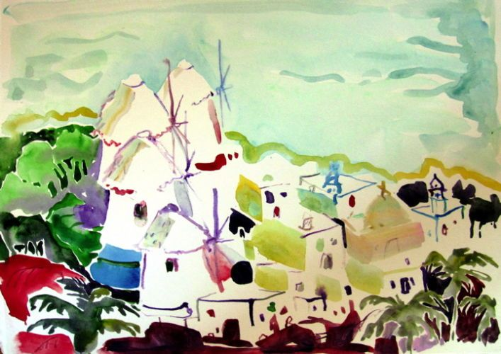 "#1847  ""View of Mykonos, Greeece""  SOLD"