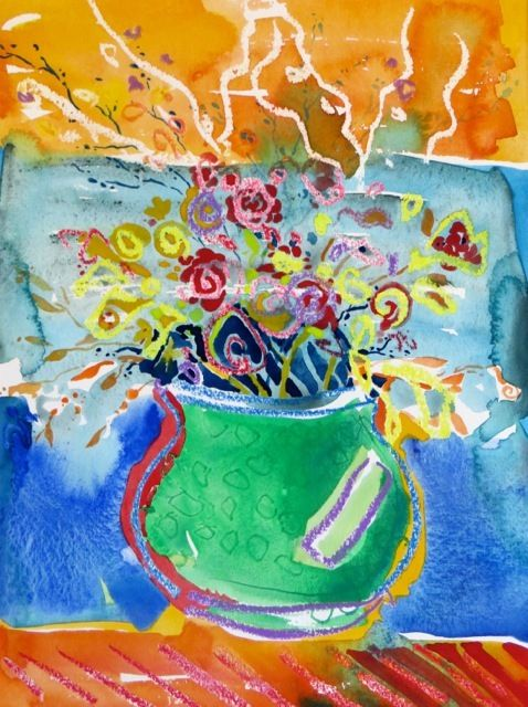 "#1855  ""Green Vase with Flowers"""