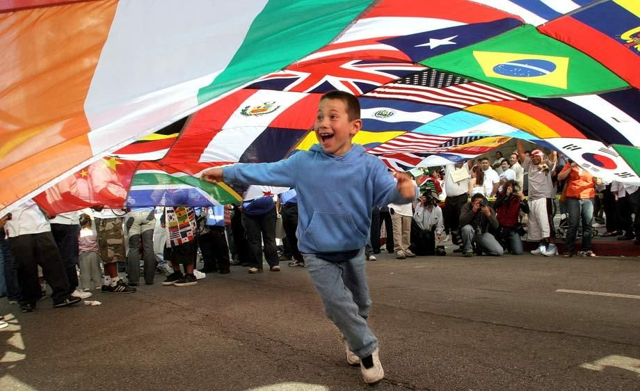 BOY AND FLAGS