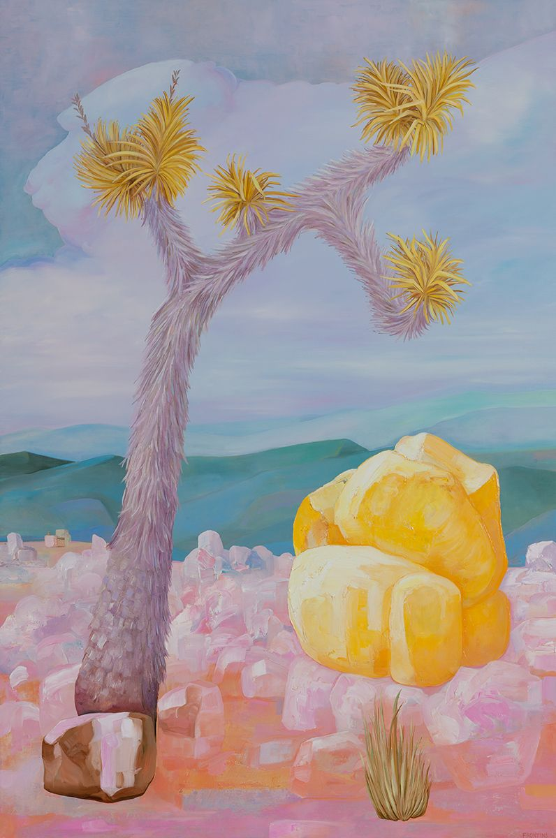 Yellow Boulder with Joshua Tree