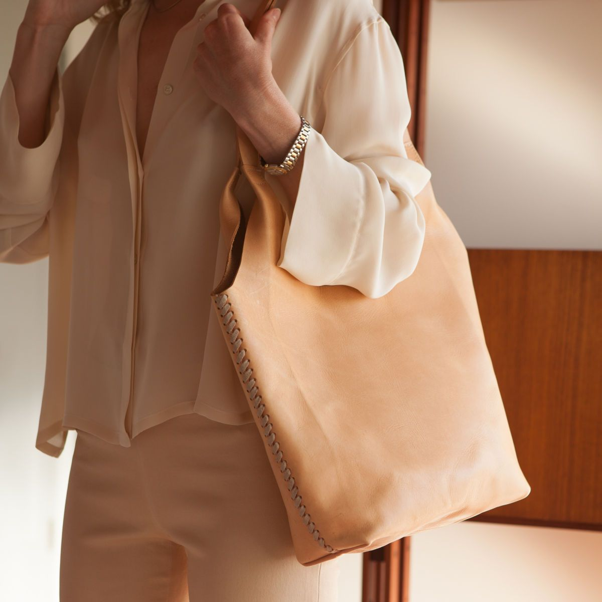 Leather tote for 11th Moon