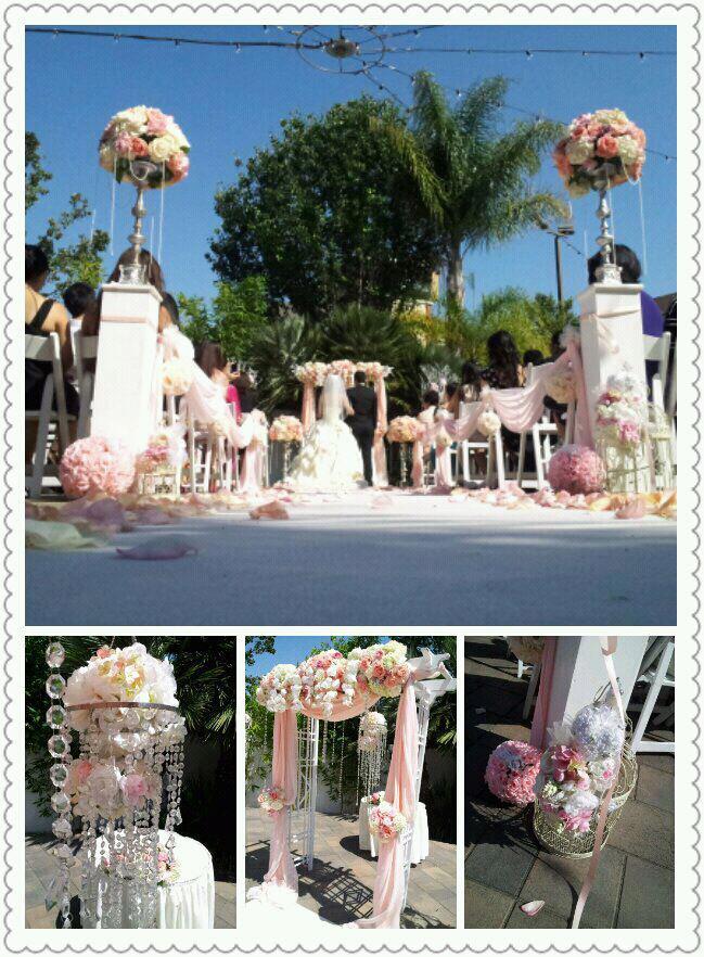 Beautiful garden setting of outdoor wedding ceremony