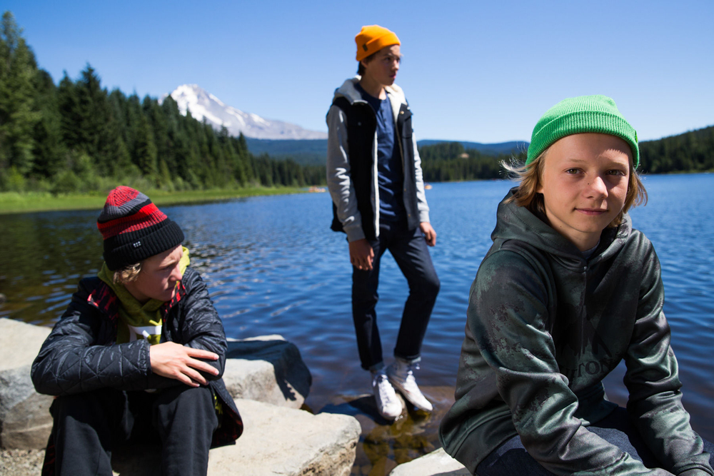 Crew hanging lakeside