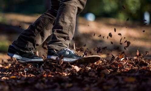 Skateboarder slides through fall leaves