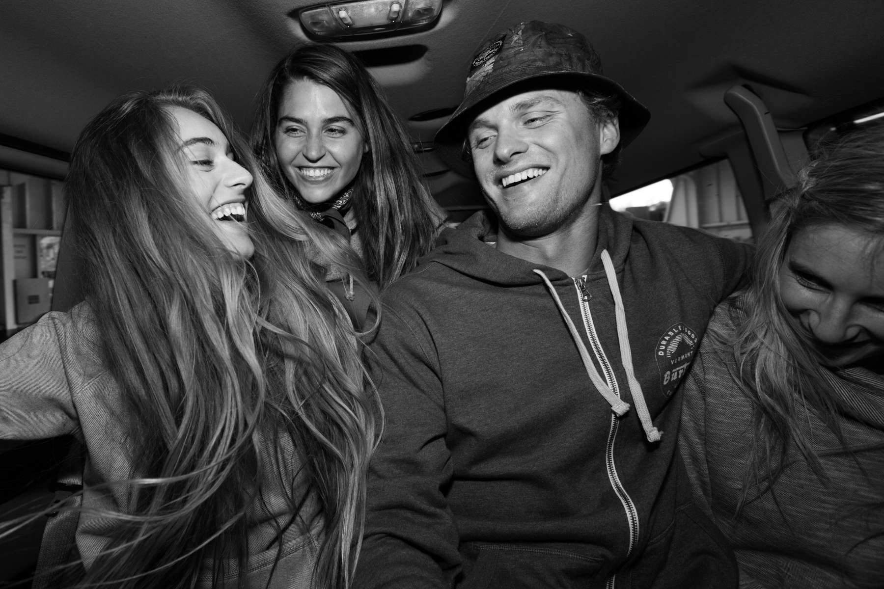 Crew, Laughing in a van