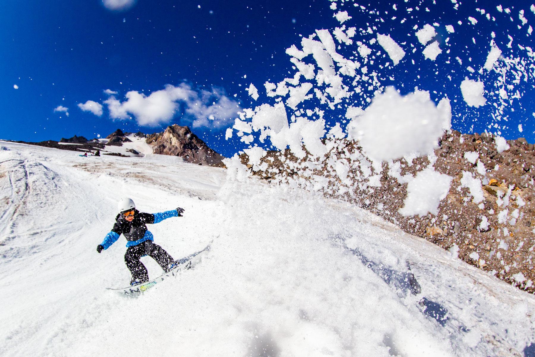 Snow flying at camera
