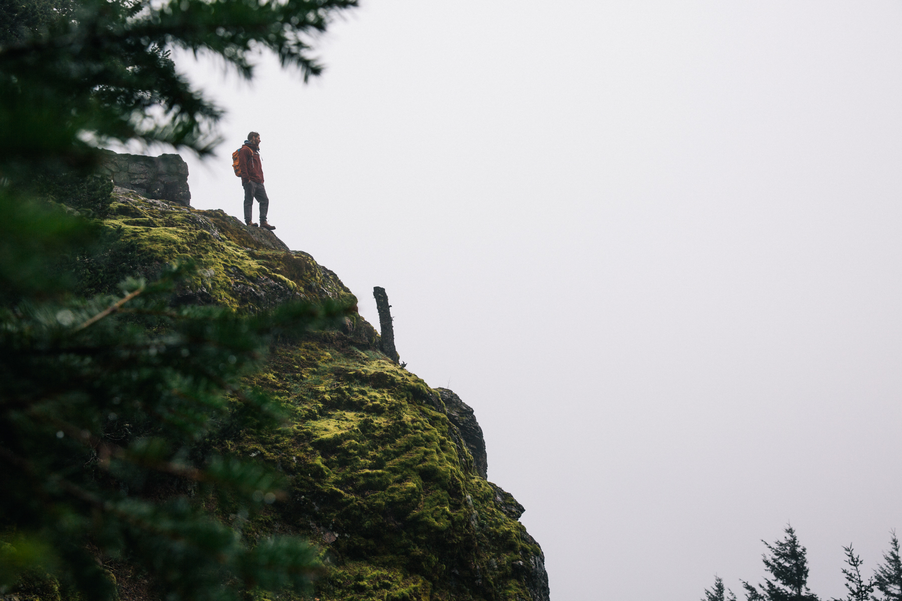 Mark Sollors, Standing on side of moss covered cliff