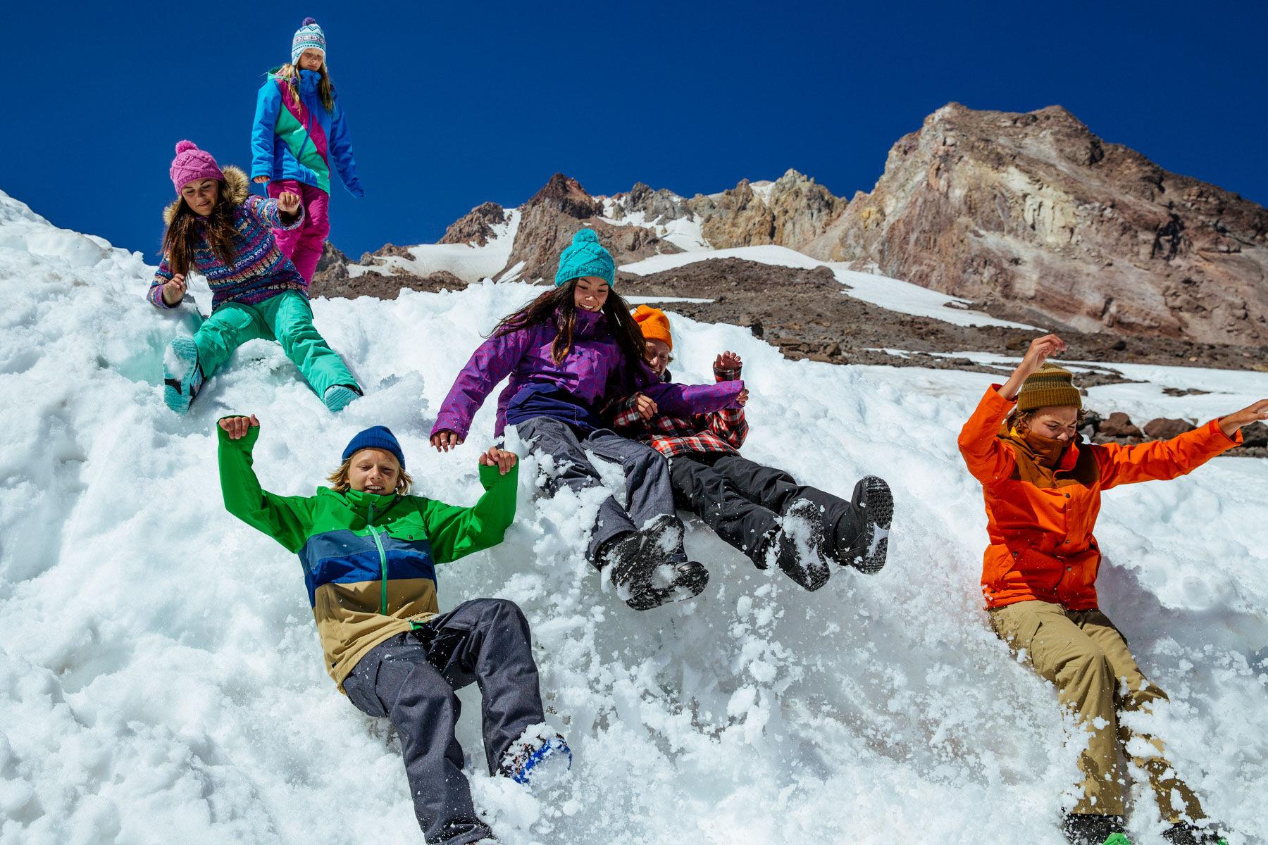 Group snow slip n slide