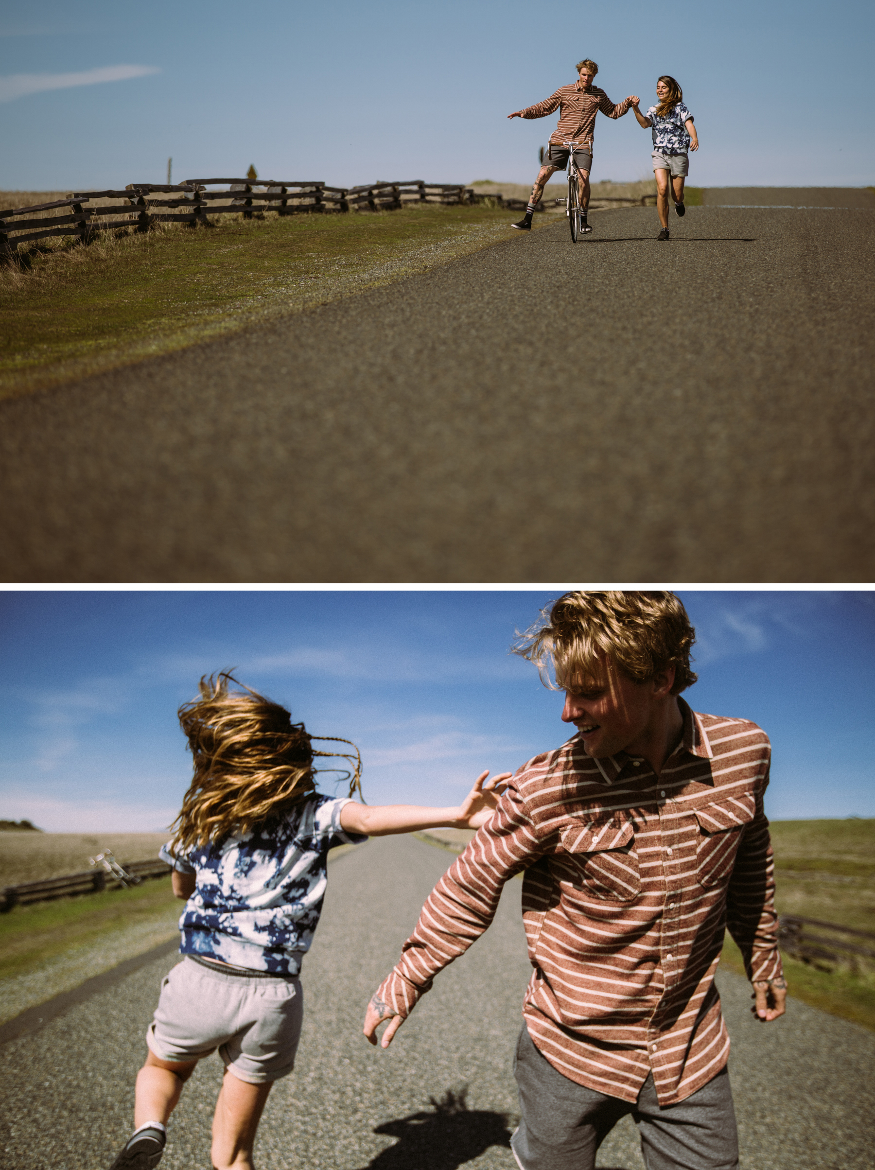 Mikkel and Tavia, Having fun messing around on a  long country road