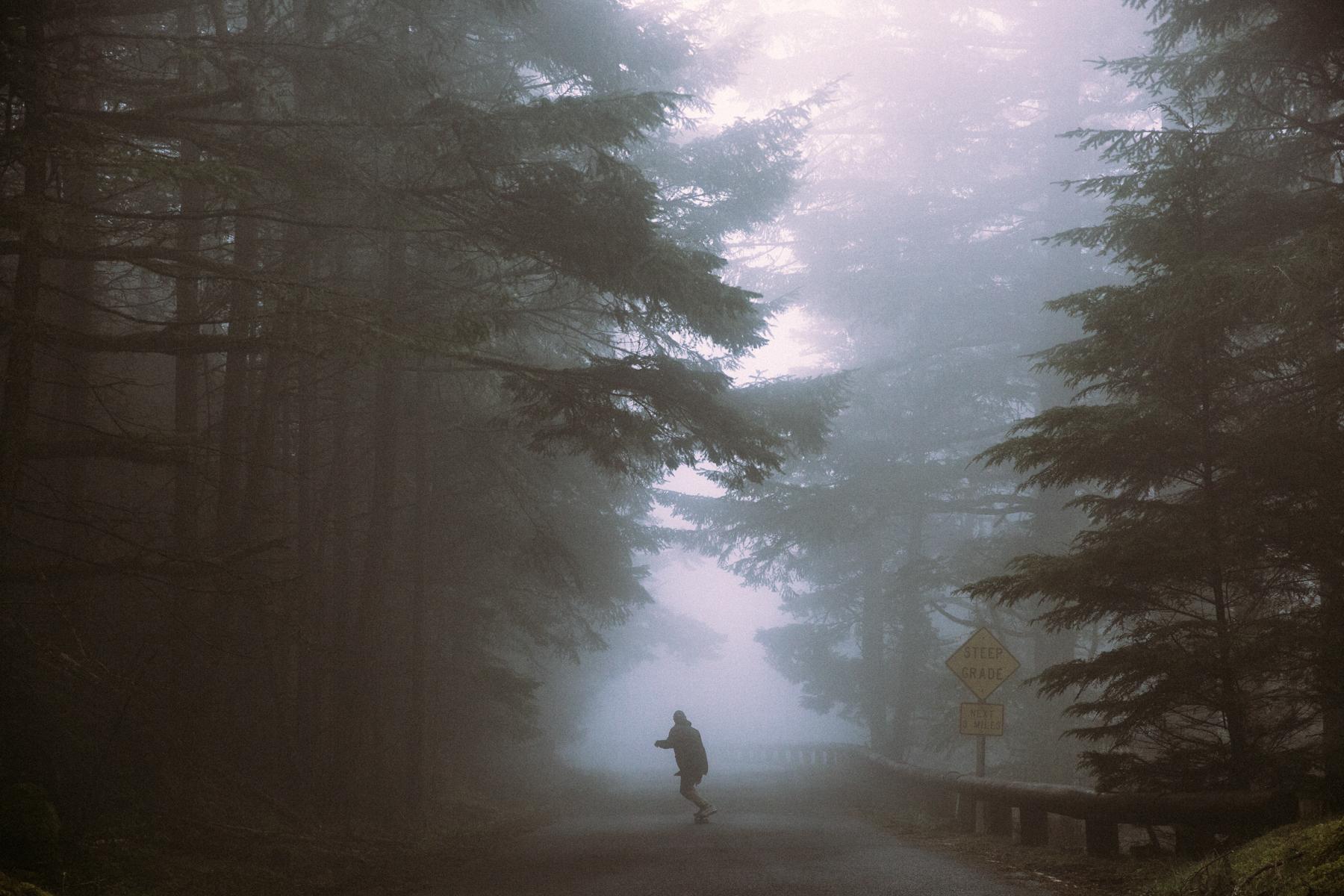 Mikkel Bang, Skateboarding down a fog covered hill