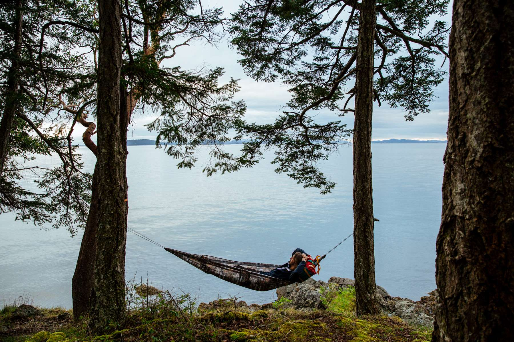 Mark Sollors, Hammock in front of calm ocean