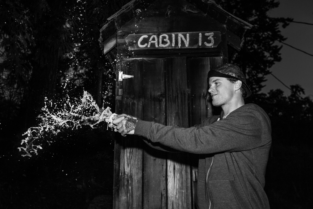 Mikkel, Cracking a beer at the Cabin