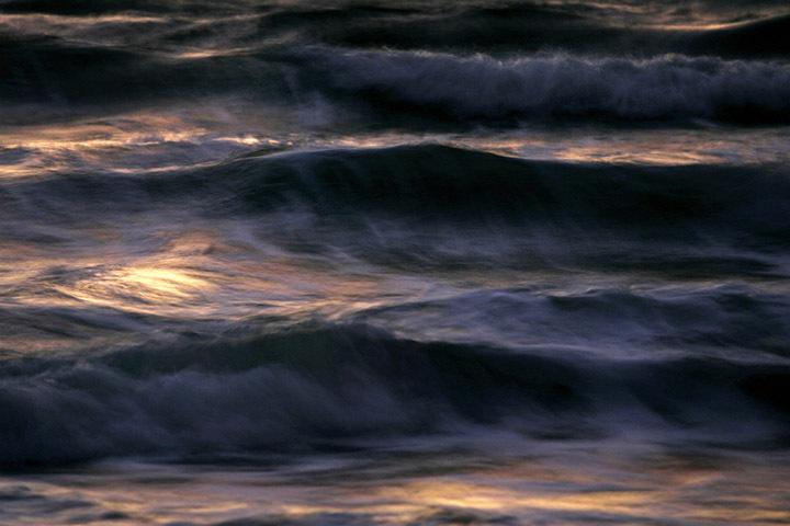 OCEAN at Dawn: magenta and black waves..