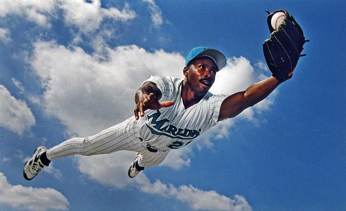 Portrait of Florida Marlins centerfielder, Chuckie Carr.