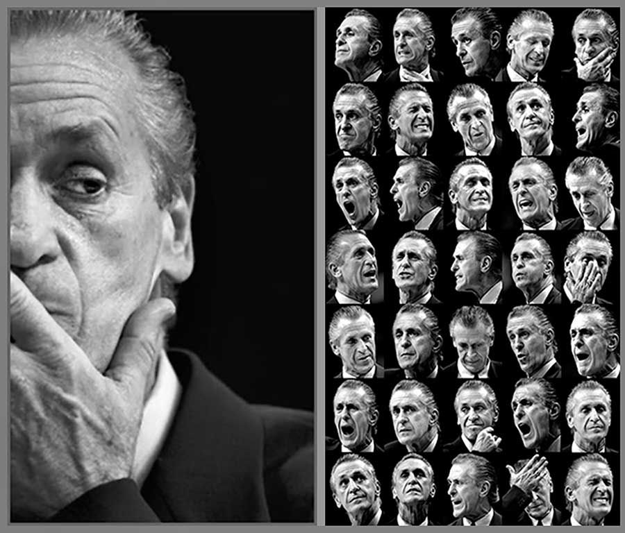 The many faces of Miami Heat coach  Pat Riley  during one game.