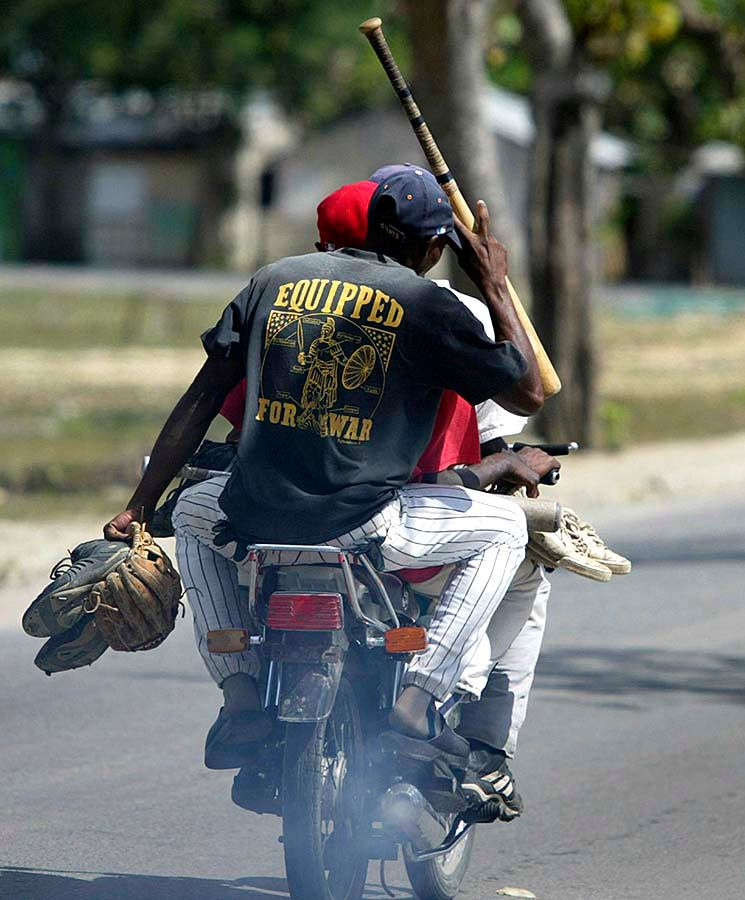Leaving baseball practice, Dominican Republic.