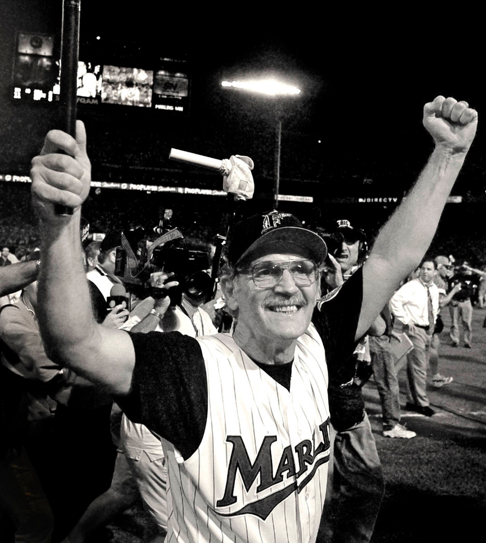 Manager Jim Leyland celebrates as World Champion, 1997.