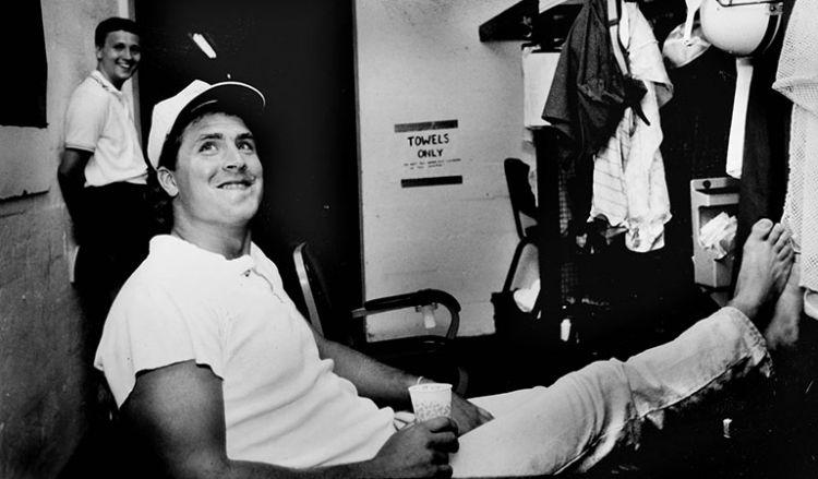 Dan Marino at his locker during trading camp, St.Thomas University.
