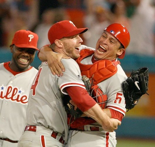 Roy Halladay celebrates pitching a Perfect Game