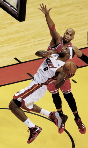 NBA Playoffs  LeBron James drives to the basket against the  Chicago Bulls.