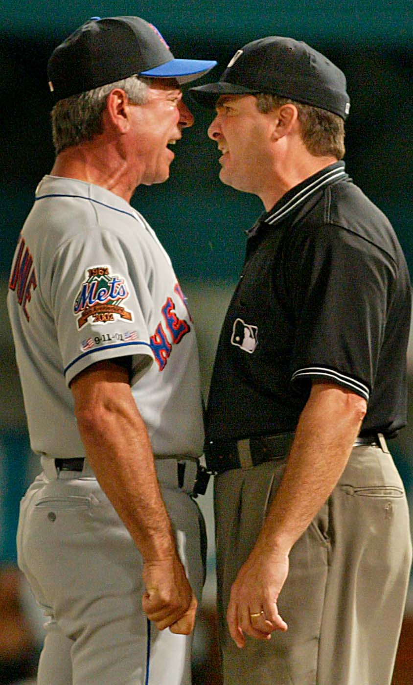 Manager Bobby Valentine goes nose to nose with Umpire  Mark Wegner ,