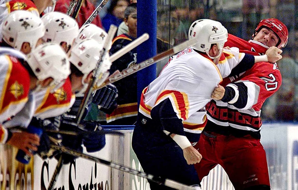 NHL: Darren Langdon and Paul Laus  fight in front of the Florida Panthers bench.