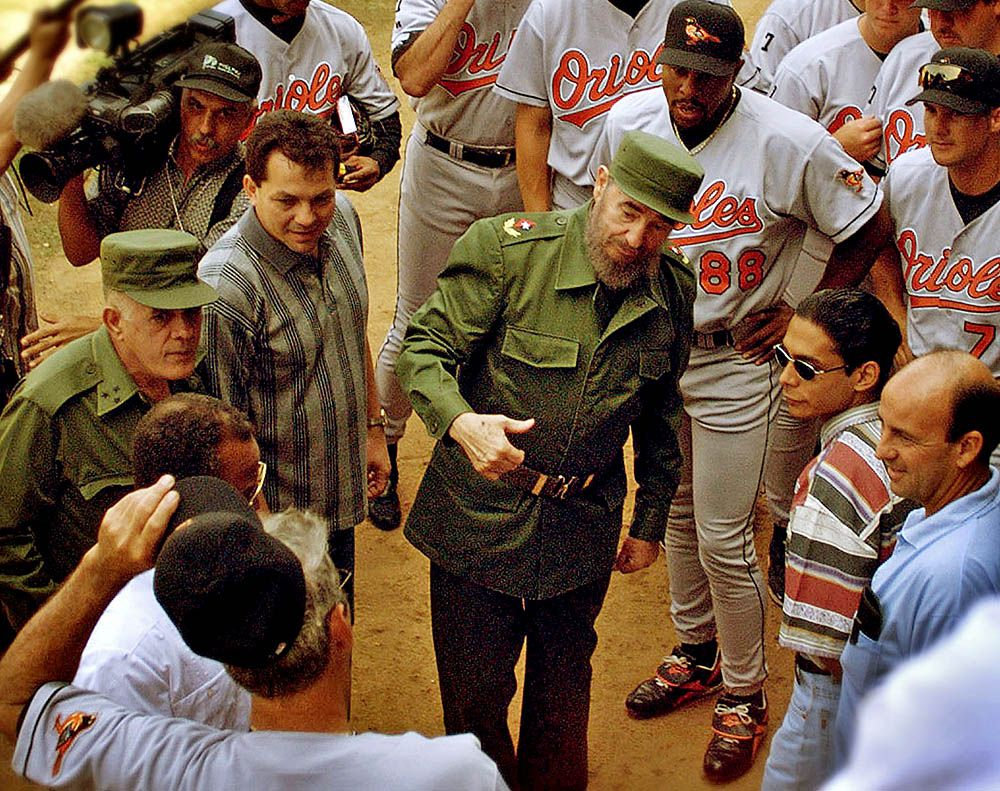 Fidel Castro meets the Baltimore Orioles. in Havana.
