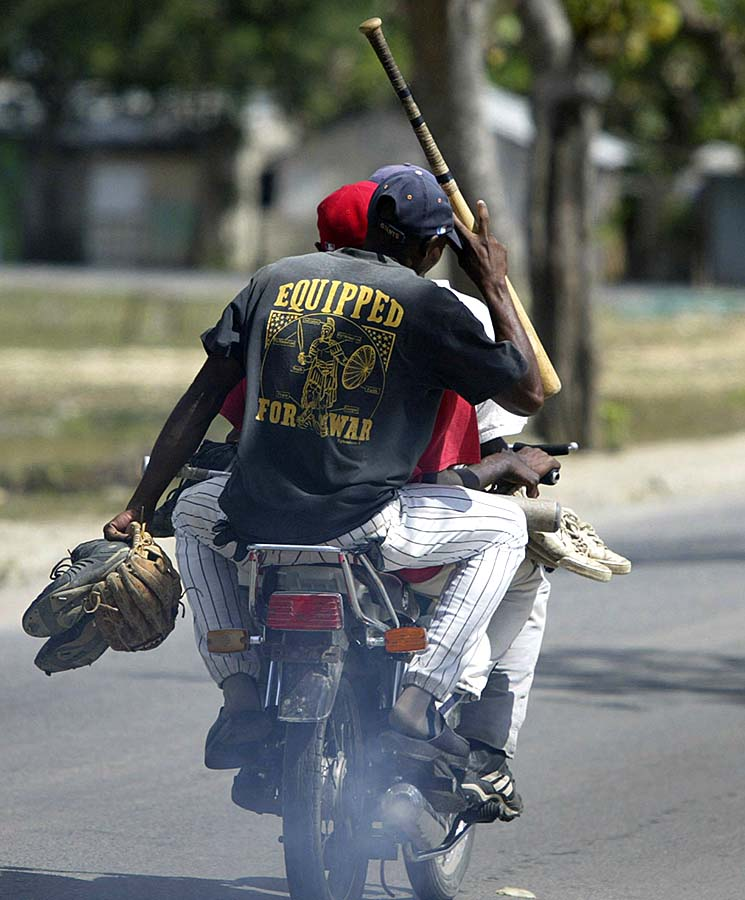 Leaving baseball practice, Dominican Republic.