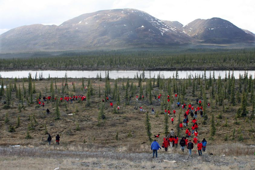 "Gwich'in people and supporters walk out on tundra to form human banner to ""Save the Arctic""."