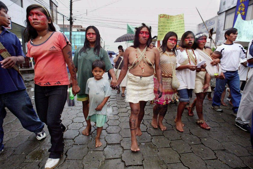 Huaorani women march to the Superior Court of Justice in Lago Agrio at the start of the trial against Chevron (formerly Texaco) in October 2003.