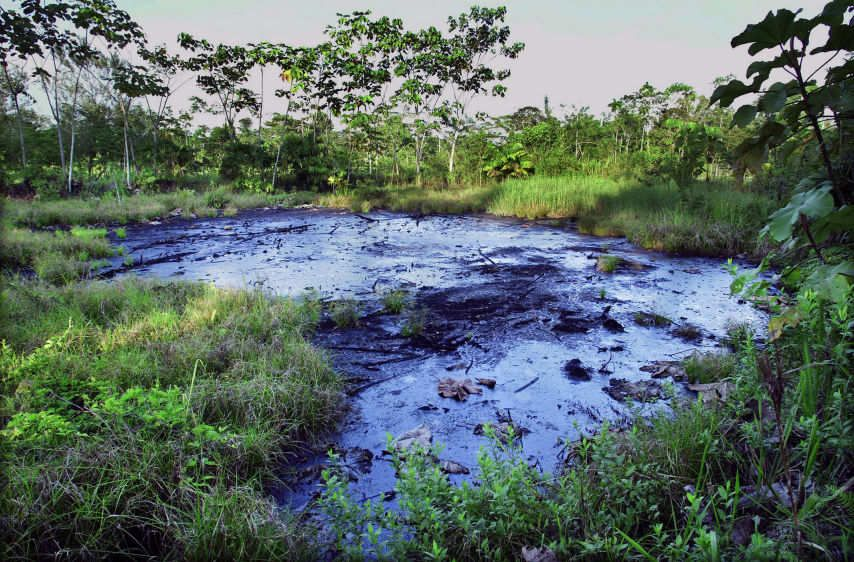 A waste pit filled with crude oil left by Texaco lies in a rainforest clearing near the town of Sacha.