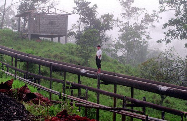 A boy stands on an oil pipeline built in the jungle near Lago Agrio.