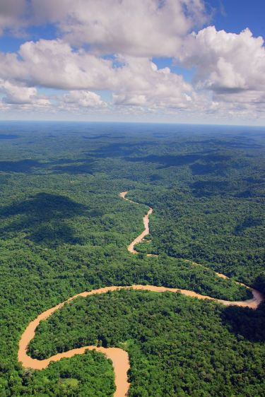 Aerial view of the Bobonaza River and surrounding rainforest near the Kichwa village of Sarayaku in the southern Amazon.