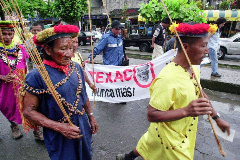Secoya and Cofan leaders march to the Superior Court of Justice in Lago Agrio at the start of the trial against Chevron (formerly Texaco) on October 21, 2003.
